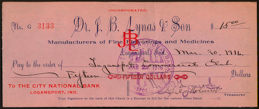 #ZZZ112 - 1916 Dr. J. B. Lynas & Son Fine Flavorings and Medicines Check