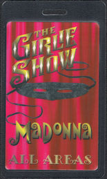 ##MUSICBP0847  - Madonna OTTO Laminated All Areas Backstage Pass from the 1993 The Girlie Show Tour - Pink Version