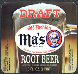 #ZLS245 - Ma's Old Fashion Draft Root Beer Bottle Label - Wilkes-Barre, PA