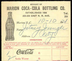 #CC260 - 1930s Coca Cola Receipt from the Marion Coca Cola Plant