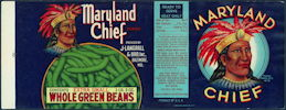 #ZLCA248 - Maryland Chief Whole Green Beans Label with Indian Chief