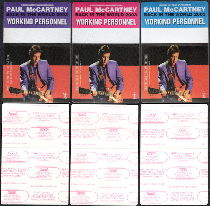 ##MUSICBP0706 - Group of 3 Different Colored Paul McCartney OTTO Cloth Backstage Pass from the 2003 Back in the World Tour