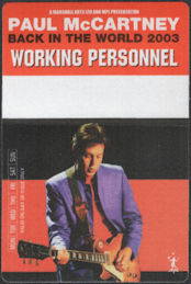 ##MUSICBP0706 - Paul McCartney OTTO Cloth Backstage Pass from the 2003 Back in the World Tour - Orange Version