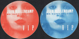 ##MUSICBP0124 - Pair of Different Colored John Mellencamp OTTO Cloth VIP Backstage Passes from the 1997 Mr. Happy Go Lucky Tour
