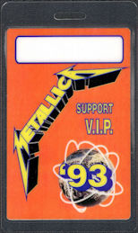 ##MUSICBP0820 - Uncommon Metallica VIP/Support Laminated OTTO Backstage Pass from the 1993 Nowhere Else to Roam Tour