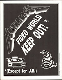 ##MUSICBG0129 - Metallica OTTO Video World Door Sign from the 1991 Wherever We May Roam Tour