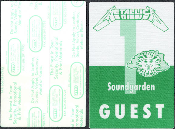 ##MUSICBP0769  - Scarce Metallica/Soundgarden (Chris Cornell) OTTO Cloth Backstage Guest Pass from the 1993 The 1991 Day on the Green Concert