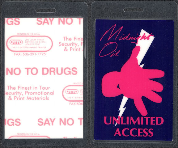 ##MUSICBP0691 - Midnight Oil OTTO Unlimited Access Laminated Backstage Pass from the 1990 Blue Sky Mining Tour