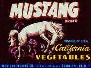 #ZLCA*055 - Mustang California Vegetable Crate Label