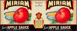 #ZLCA280 - Scarce Miriam Apple Sauce Label