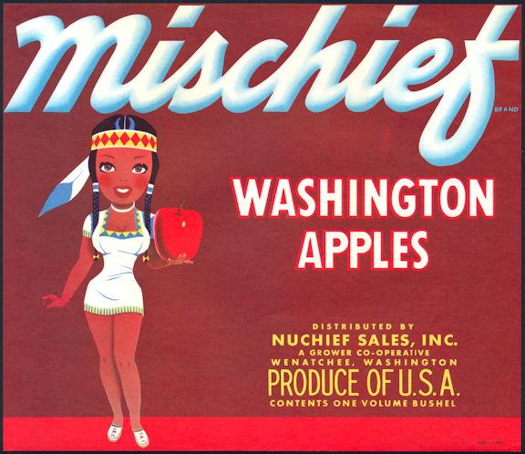 #ZLC425 - Mischief Apples Crate Label - Indian Girl
