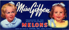 #ZLCA*065 - Miss Giffen Melons Crate Label