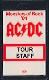 ##MUSICBP0498 - Rare OTTO  AC/DC Laminated Backstage Pass from the Monsters of Rock Tour