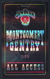 ##MUSICBP0215 - Montgomery Gentry Numbered Hard Plastic OTTO Backstage Pass from the 2001 Jim Beam Tour