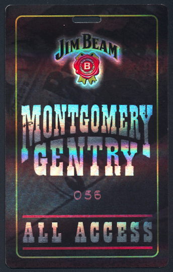 ##MUSICBP0215 - Montgomery Gentry Numbered Hard Plastic Backstage Pass from the 2001 Jim Beam Tour - As low as $4 each