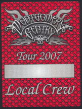 ##MUSICBP0212 - Montgomery Gentry OTTO Cloth Local Crew Backstage Pass from Tour 2007