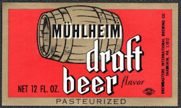 #ZLBE128 - Mühlheim Draft Beer Bottle Label - Shamokin, PA