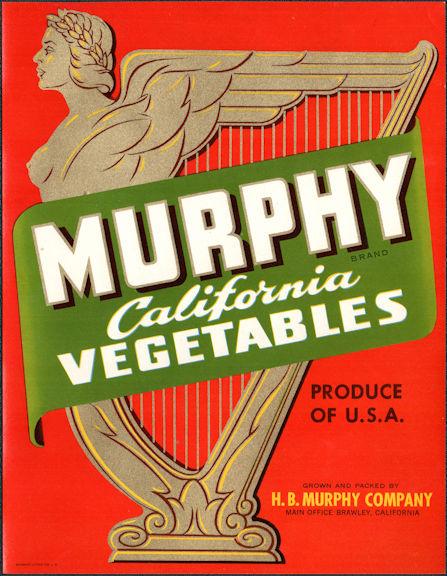 #ZLC480 - Uncommon Murphy California Vegetables Crate Label - Brawley, CA