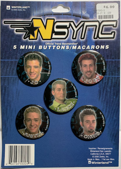 ##MUSICBG0148 - Display Card with 5 Licensed NSynch Picture Pinback Buttons
