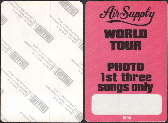 ##MUSICBP0008  - \Air Supply Now and Forever Tour OTTO Backstage Pass