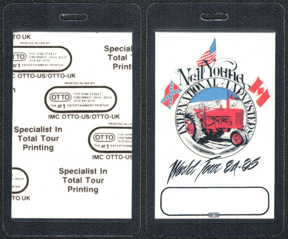 ##MUSICBP0038 - Scarce 1984-85 Neil Young Laminated OTTO Backstage Pass from the International Harvesters World Tour