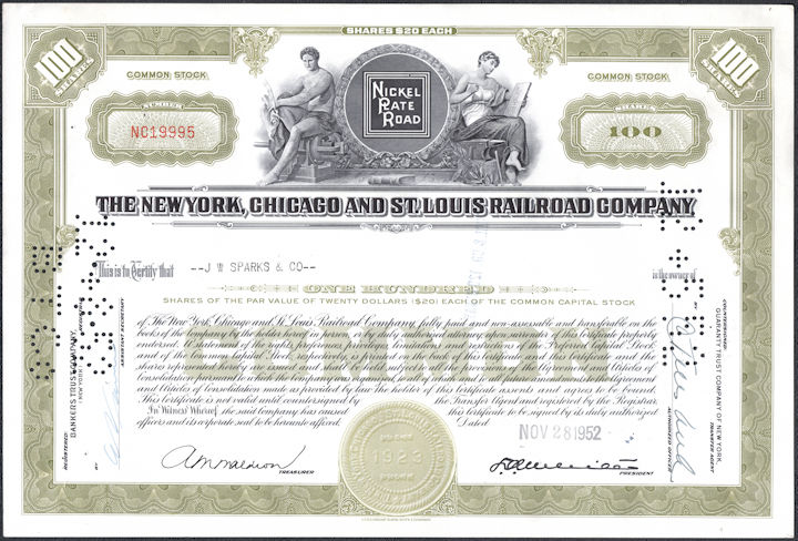 #ZZCE091 - The New York, Chicago, and St. Louis Railroad Company Stock Certificate