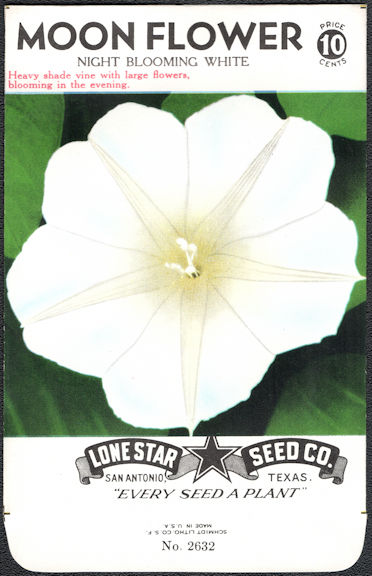 #CE016 - Night Blooming White Moon Flower Lone Star 10¢ Seed Pack - As Low As 50¢ each