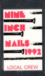 ##MUSICBP0525 - Nine Inch Nails Laminated OTTO Local Crew Backstage Pass from the 1992 Tour