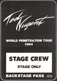 ##MUSICBP0028  - 1984 Ted Nugent cloth OTTO Backstage Pass from the World Penetration Tour