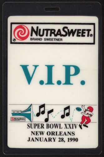 #BA705 - 1990 Oversized Super Bowl XXIV OTTO Laminated Backstage Pass - NutraSweet V.I.P.