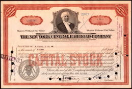 #ZZCE008 - New York Central Stock Certificate