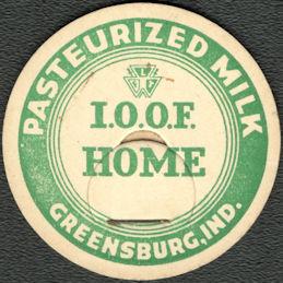 #DC234 - Rare I.O.O.F. (International Order of Odd Fellows) Milk Bottle Cap from Greensburg, IN