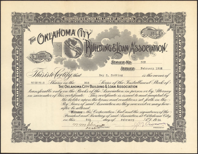 #ZZCE037 - Stock Certificate from the Oklahoma City Building & Loan Association