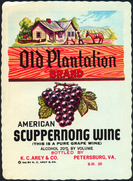 #ZLW024 - Old Plantation American Scuppernong Wine Label