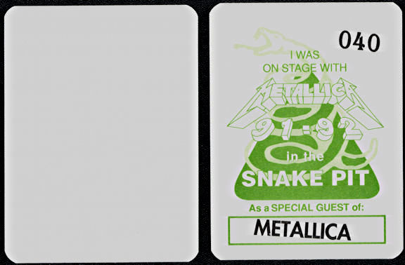 ##MUSIC243  - Group of 12 1991/92 Metallica Snake Pit OTTO Cloth Backstage Passes