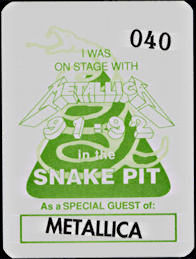 ##MUSICBP0243  - Group of 12 1991/92 Metallica Snake Pit OTTO Cloth Backstage Passes