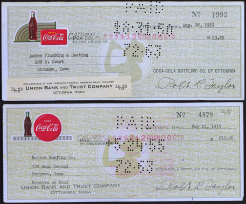 #CC294 - Pair of Two Different Rare Coca Cola Ottumwa, IA Plant Checks