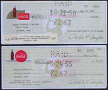#CC294 - Pair of Two Different Rare Coca Cola Ottumwa, IA Plant Checks