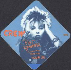 ##MUSICBP0020  - Diamond Shaped 1986 Pat Benatar OTTO Backstage Pass from the Seven the Hard Way Tour
