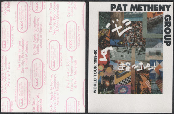 ##MUSICBP0720  - Pat Metheny OTTO Cloth Backstage Pass from the 1989/90 Letter From Home Tour
