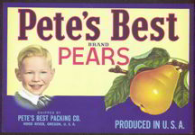 #ZLC209 - Pete's Best Pear Crate Label