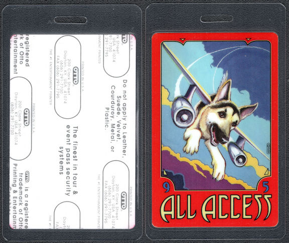 ##MUSICBP0237 - 1995 Tom Petty and the Heartbreakers OTTO Laminated Backstage Pass from the Dogs with Wings Tour - Dog with Airplane Wings