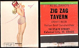 "#PINUP058 - Signed Petty ""Hot as a Firecracker"" Pinup Matchbook from the Zig Zag Tavern - Mob"