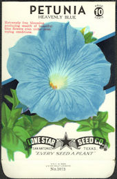 #CE022 - Heavenly Blue Petunia Lone Star 10¢ Seed Pack - As Low As 50¢ each