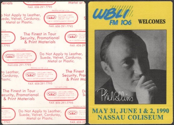 ##MUSICBP0721  - Scarce Phil Collins OTTO Cloth Backstage Pass from the 1990 Concert at Nassau Coliseum