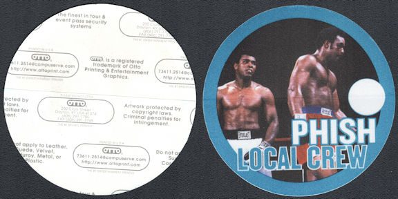##MUSICBP0763 - Group of 4 Different Colored PHISH OTTO Cloth Local Crew Backstage Passes featuring the Muhammad Ali George Foreman Boxing Match