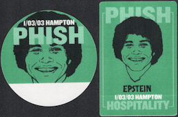 ##MUSICBP0572 - Pair of 2 Different PHISH OTTO Cloth Backstage Passes from the 2003 Hampton Concert - Pictures Epstein from Welcome Back Kotter
