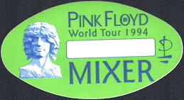 ##MUSICBP0801 - Pink Floyd OTTO Cloth Backstage Mixer Pass from the 1994 Division Bell Tour