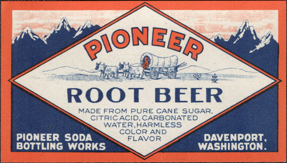 #ZLS248 - Pioneer Root Beer Bottle Label with Covered Wagon