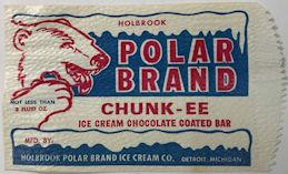 #PC119 - Holbrook Polar Brand CHUNK_EE Chocolate Coated Bar Ice Cream Bag - Polar Bear
